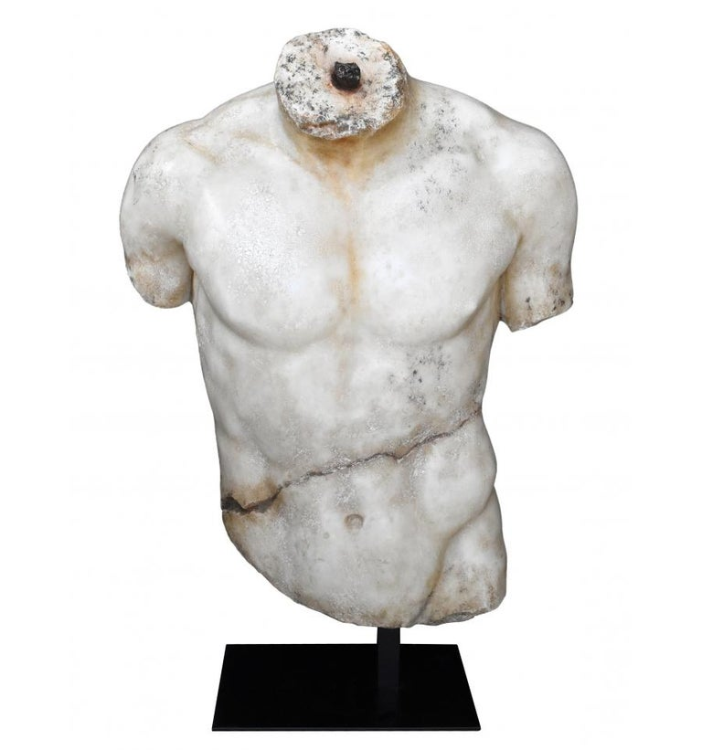 Classical Roman torso in resin on pedestal, 2015, offered by Volubilis Art