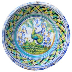 19th Spanish Triana Whit Green, Blue and Yellow Glazed Terracotta Lebrillo