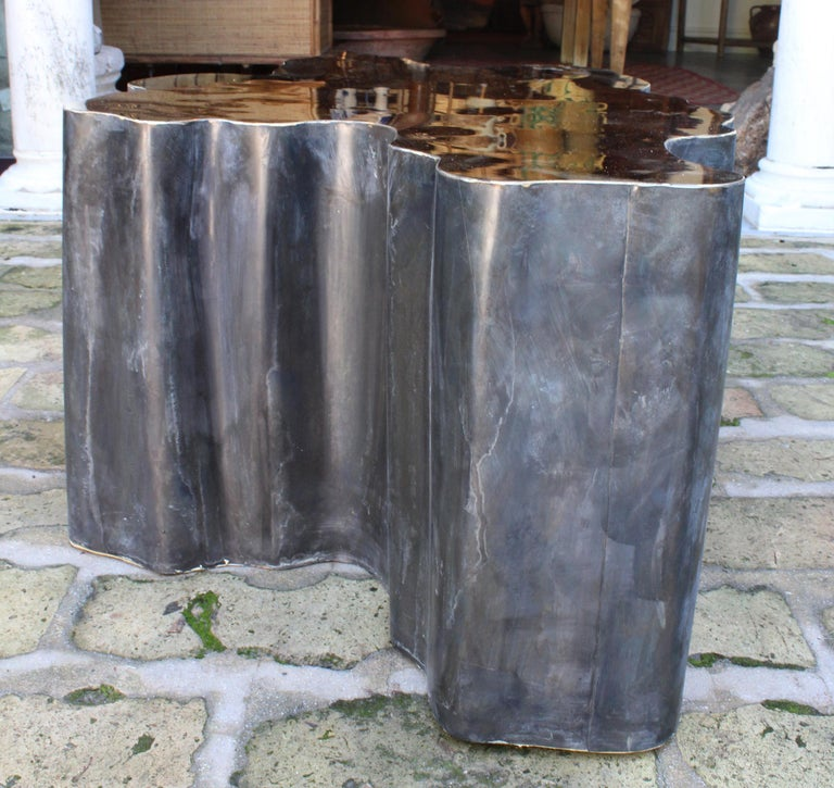 Bronze French Design Gilded Brass Coffee Table For Sale