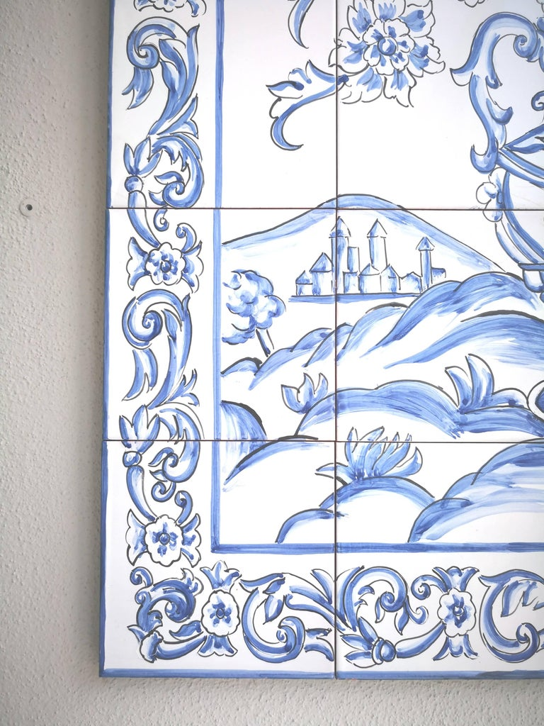Portuguese Hand-Painted Glazed Ceramic Tile Panel For Sale at 1stdibs