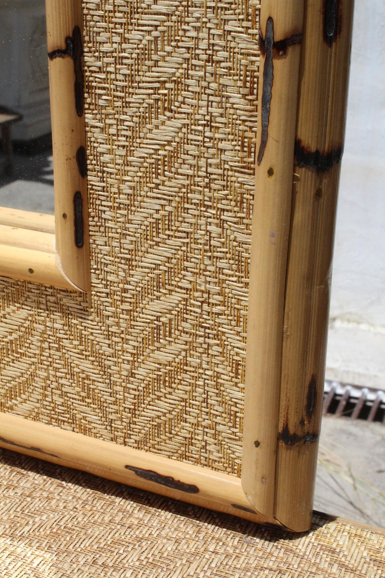 20th Century 1980s Bamboo and Rattan Console Table with Mirror Set For Sale