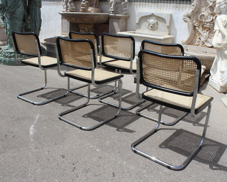 1970s Set of Six Marcel Breuer Cane and Chrome