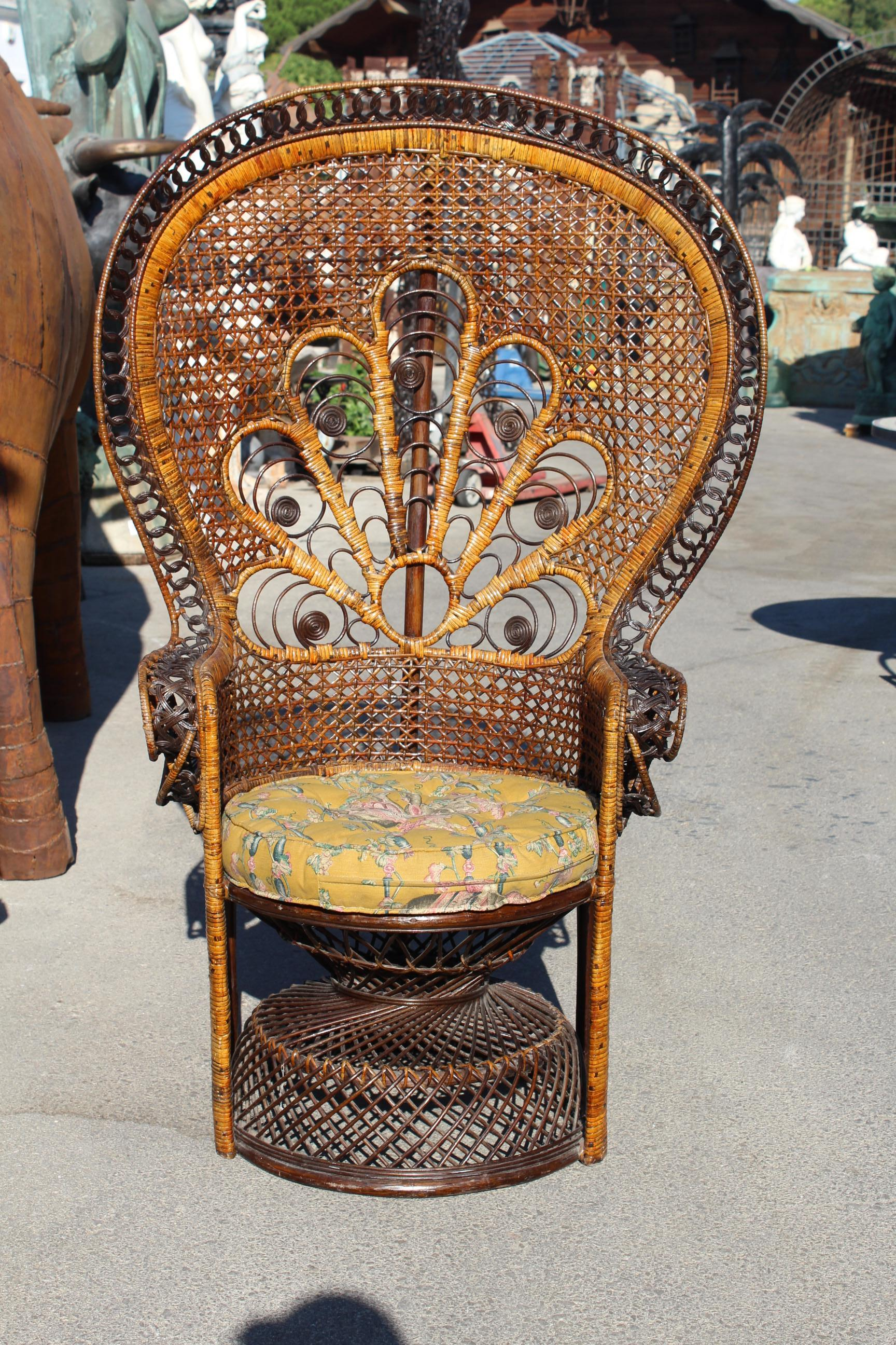 1970s Large Vintage Bohemian Emmanuelle / Peacock Wicker Chair.
