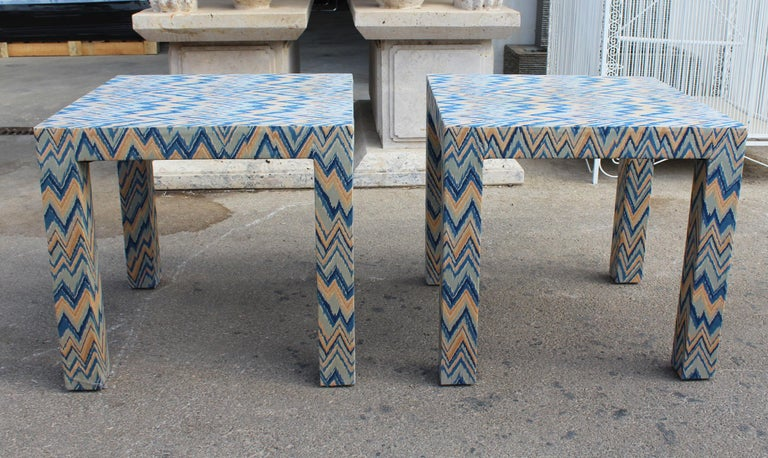 1980s Italian pair of upholstered side tables.