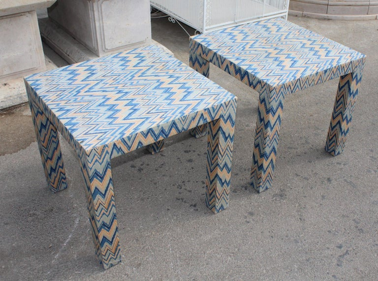 1980s Italian Pair of Upholstered Side Tables In Good Condition For Sale In Malaga, ES