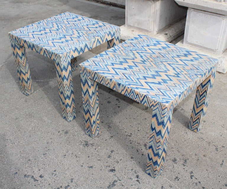 1980s Italian Pair of Upholstered Side Tables For Sale 1