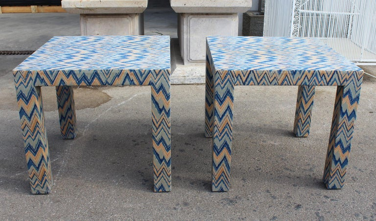 20th Century 1980s Italian Pair of Upholstered Side Tables For Sale