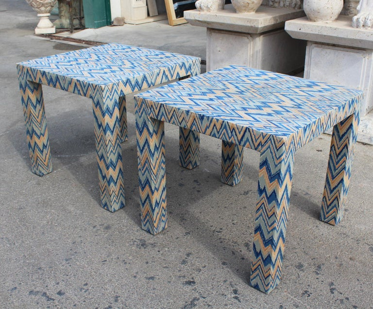Fabric 1980s Italian Pair of Upholstered Side Tables For Sale