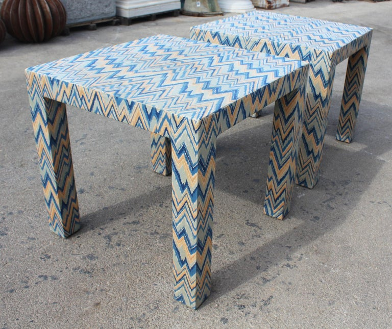 1980s Italian Pair of Upholstered Side Tables For Sale 2
