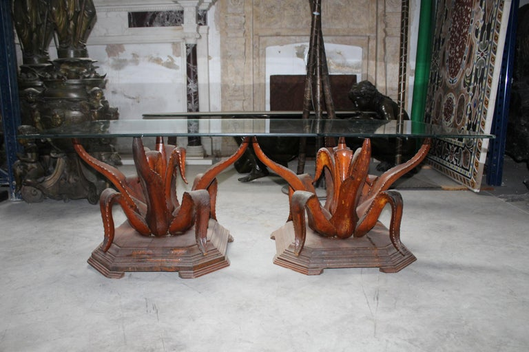 Spanish 1970s Pair of Hand-Carved Coffee Table Wooden Bases For Sale