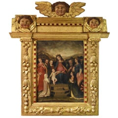 Spanish oil Colonial School S, 16th Century, Virgin with child and wood frame