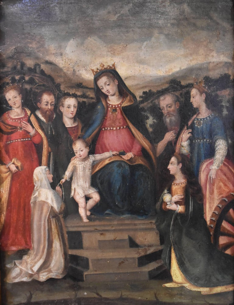 Renaissance Spanish oil Colonial School S, 16th Century, Virgin with child and wood frame For Sale
