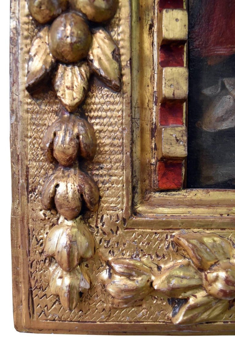 Spanish oil Colonial School S, 16th Century, Virgin with child and wood frame In Good Condition For Sale In Malaga, ES