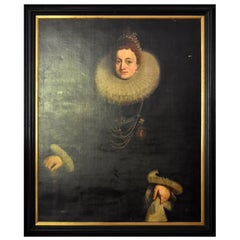 18th Century Spanish Anonymous Oil on Canvas Portrait of Isabel Clara Eugenia