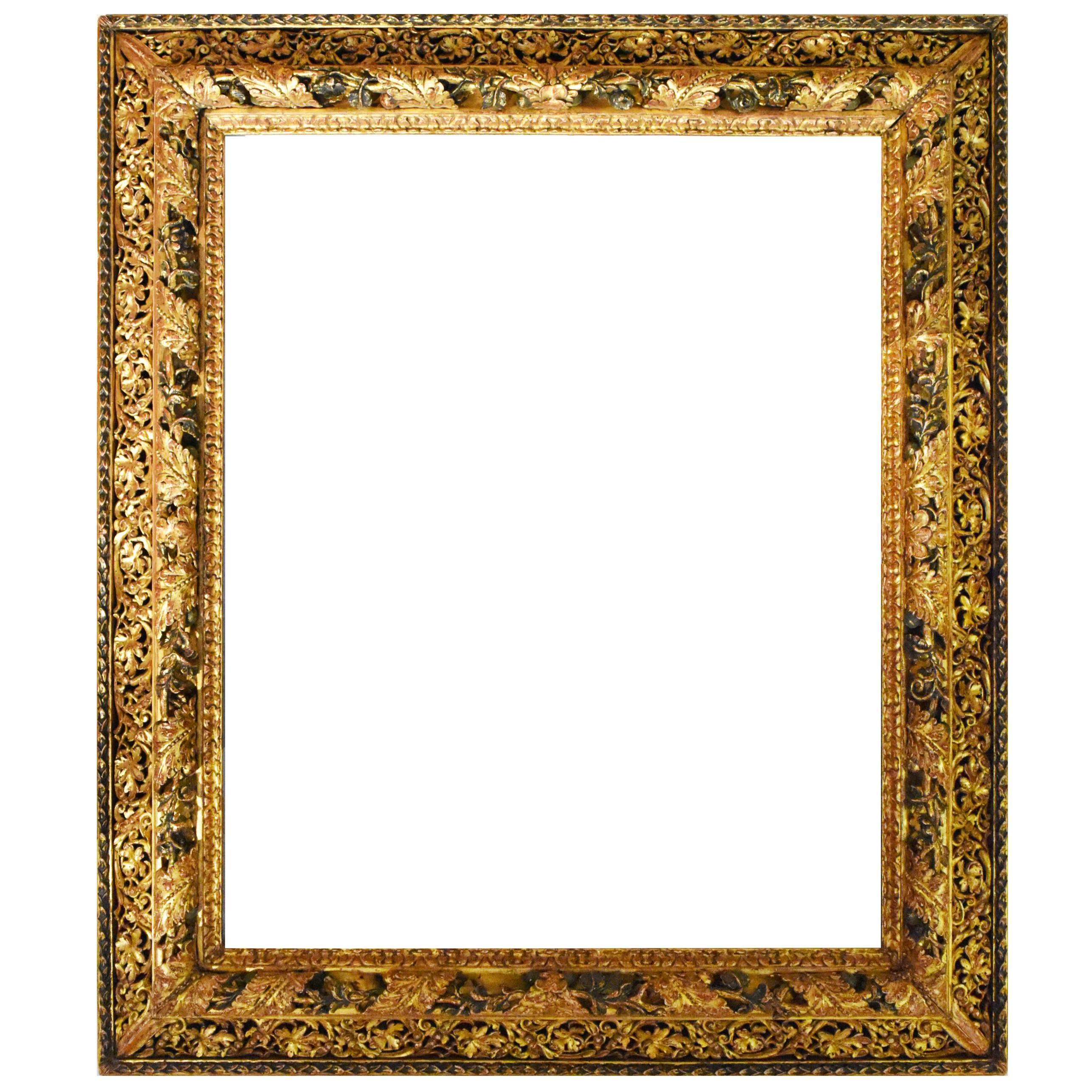 Early 19th Century Spanish Gold Gilded and Green Frame