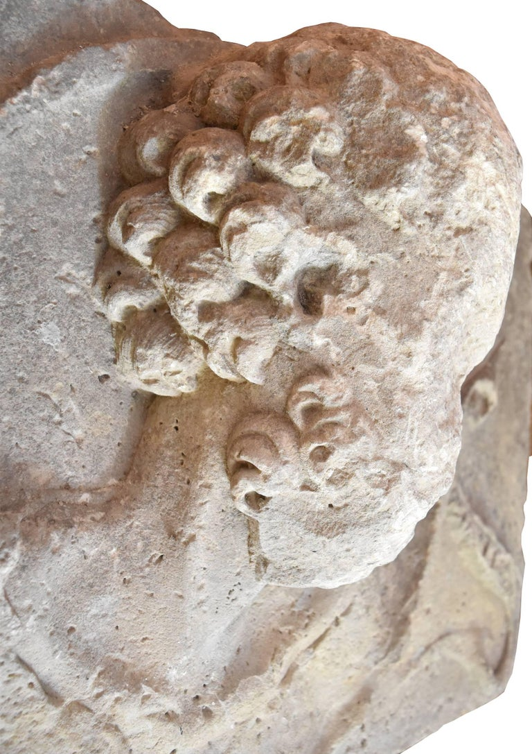 Renaissance Spanish 16th Century High Relief Limestone Bust from a Building For Sale