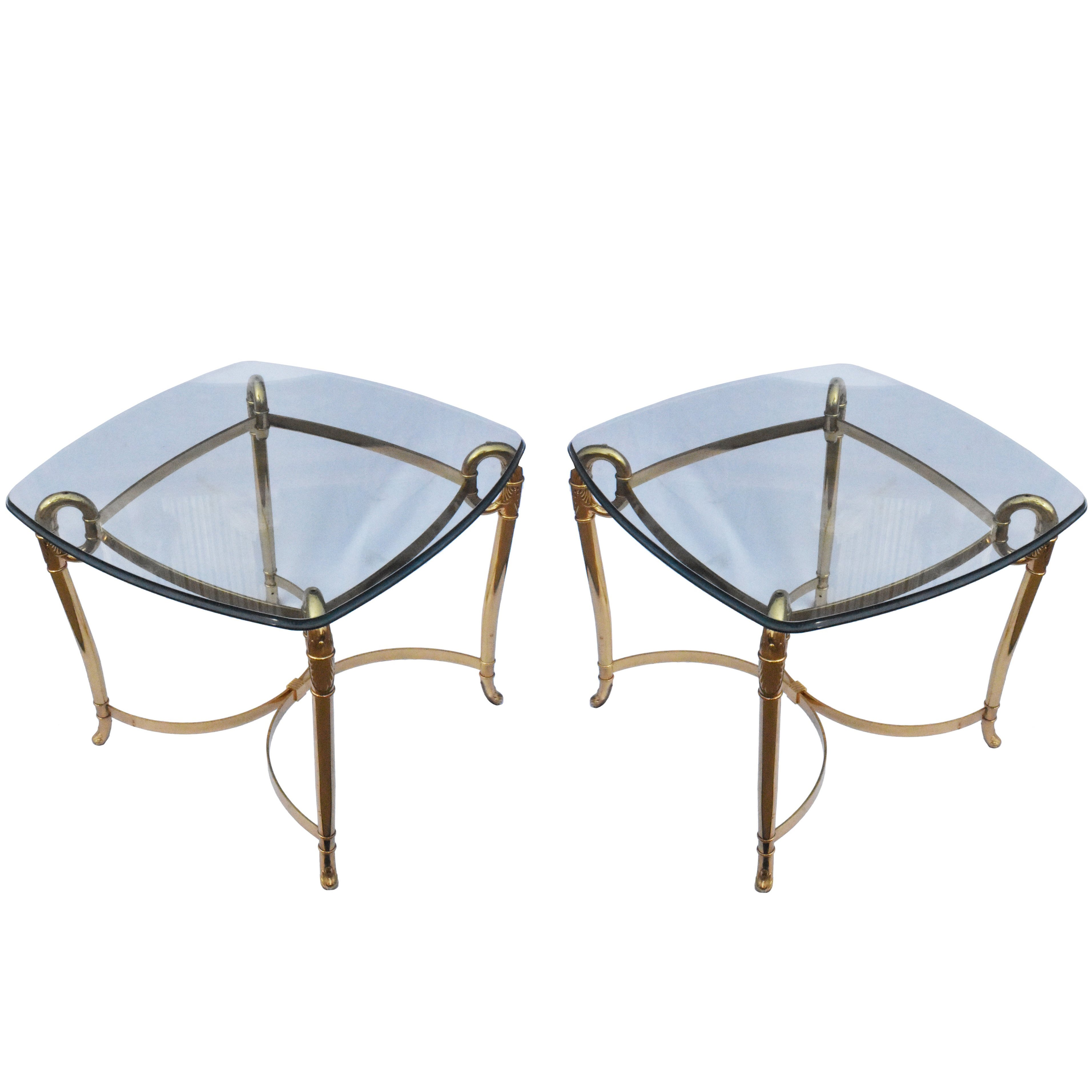 Italian, 1980s Pair of Bronze Side Tables with Glass Tops