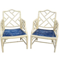 Pair of White Lacquered Chinoiserie Armchairs