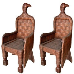 Spanish Pair of Eagle Shaped Wooden Armchairs, 1990s