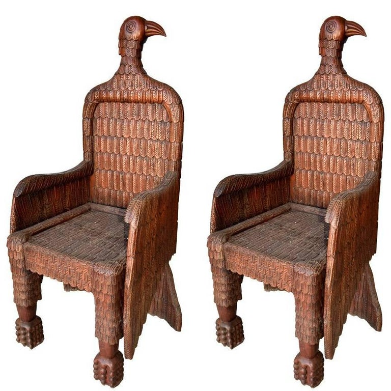 Spanish Pair of Eagle Shaped Wooden Armchairs, 1990s For Sale