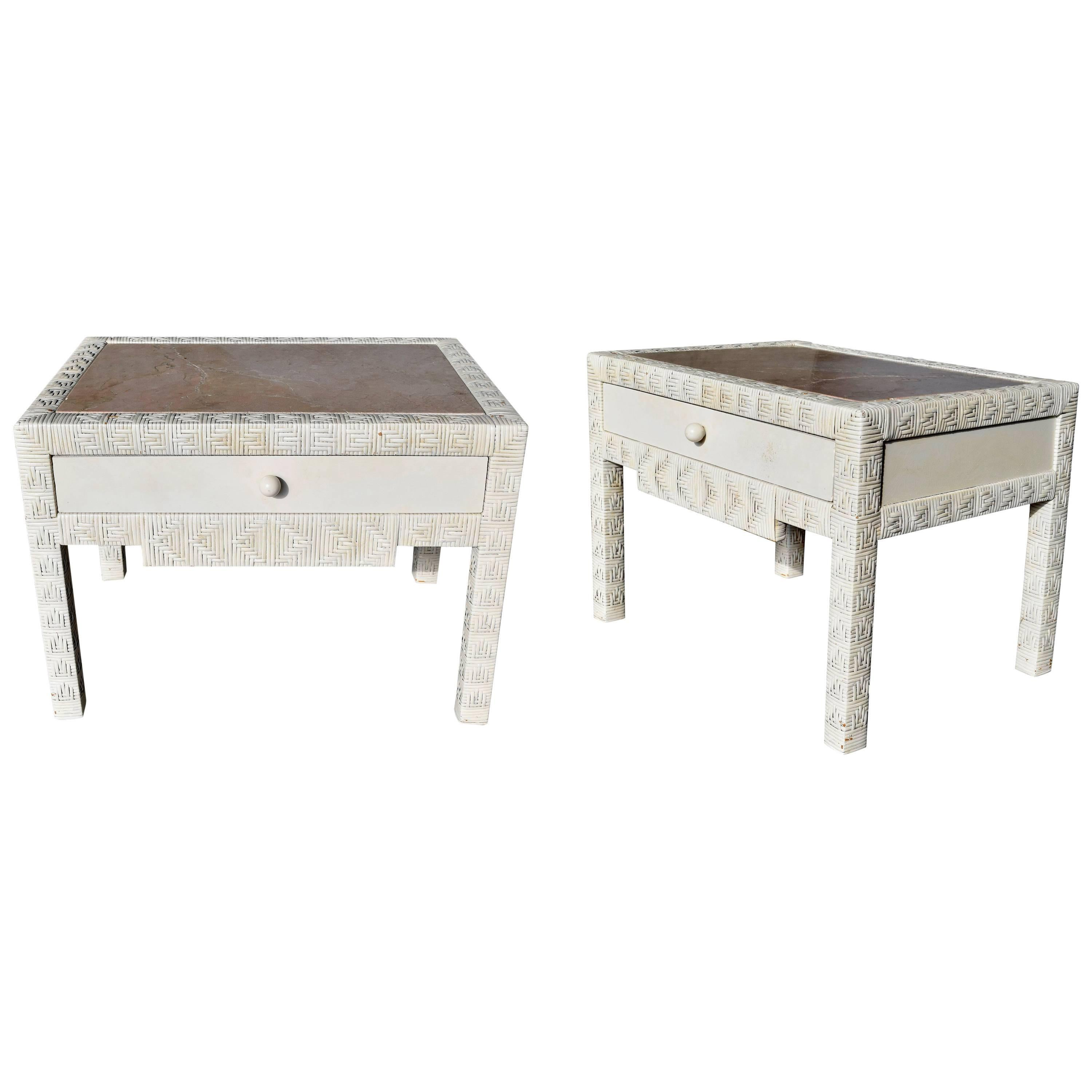 1980s Pair of One Drawer wicker Bedside Tables with Crema Marble Tops