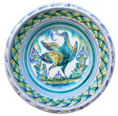 19th Spanish Triana Whit Green, Blue and Yellow Glazed Terracotta Lebrillo