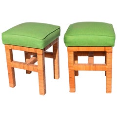 1980s Pair of Green Upholstered Rattan Stools