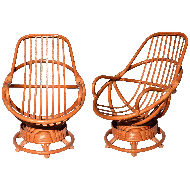 Spanish 1980s Pair of Swivel Bamboo Armchairs
