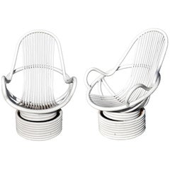 1980s Pair of White Swivel Bamboo Armchairs