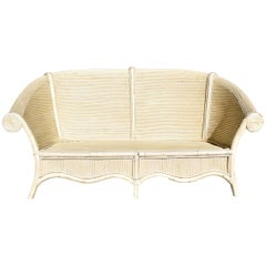 1980s Vintage Bamboo Two-Seat Sofa