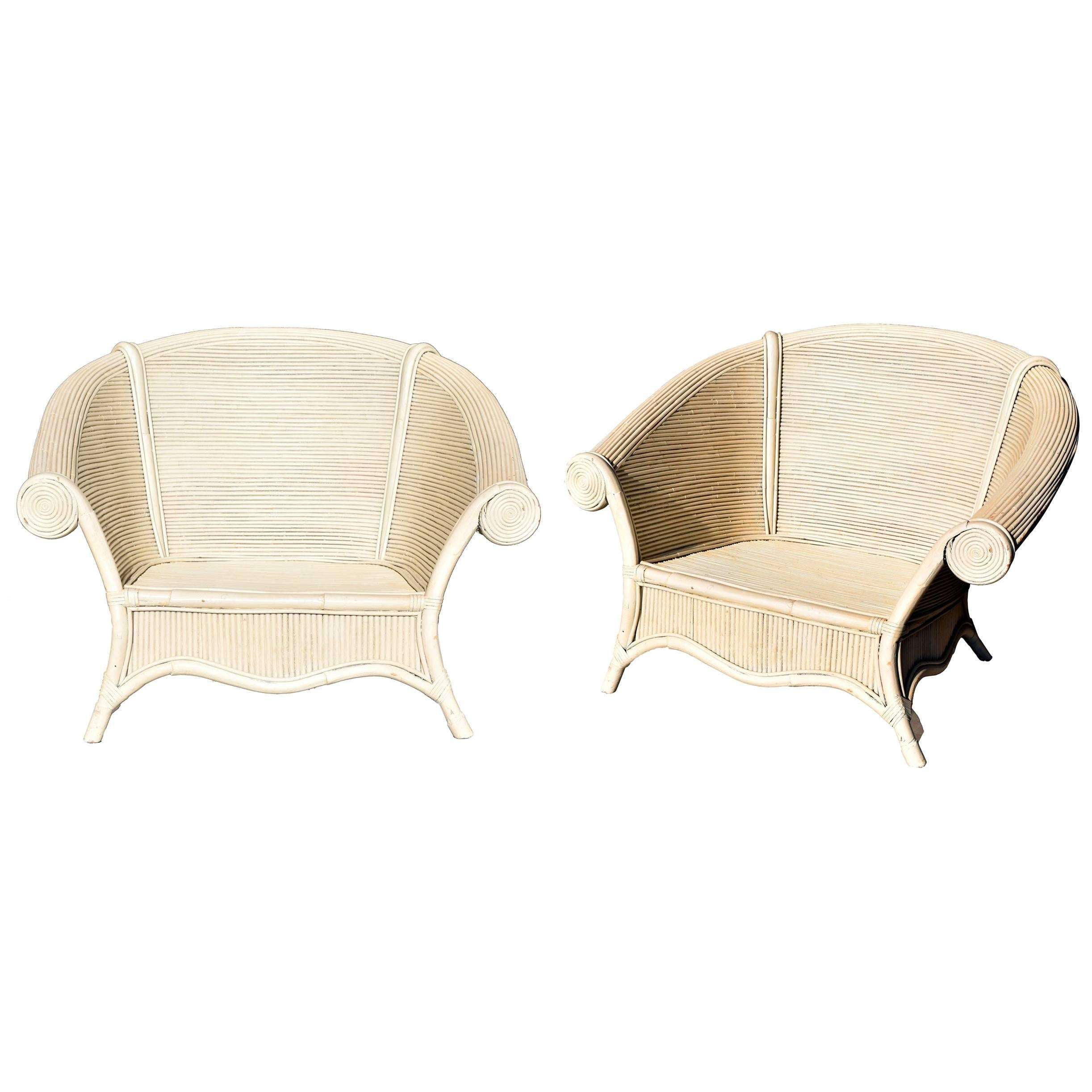 Spanish, 1980s Pair of Vintage Bamboo Armchairs