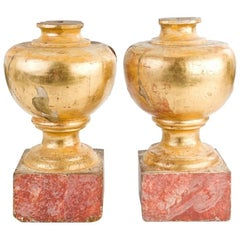 Spanish, 17th Century Pair of Gold Gilded Rounded Tops