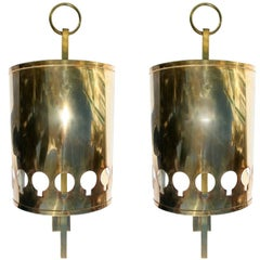 Spanish, 1970s Pair of Bronze Brass Wall Lamps