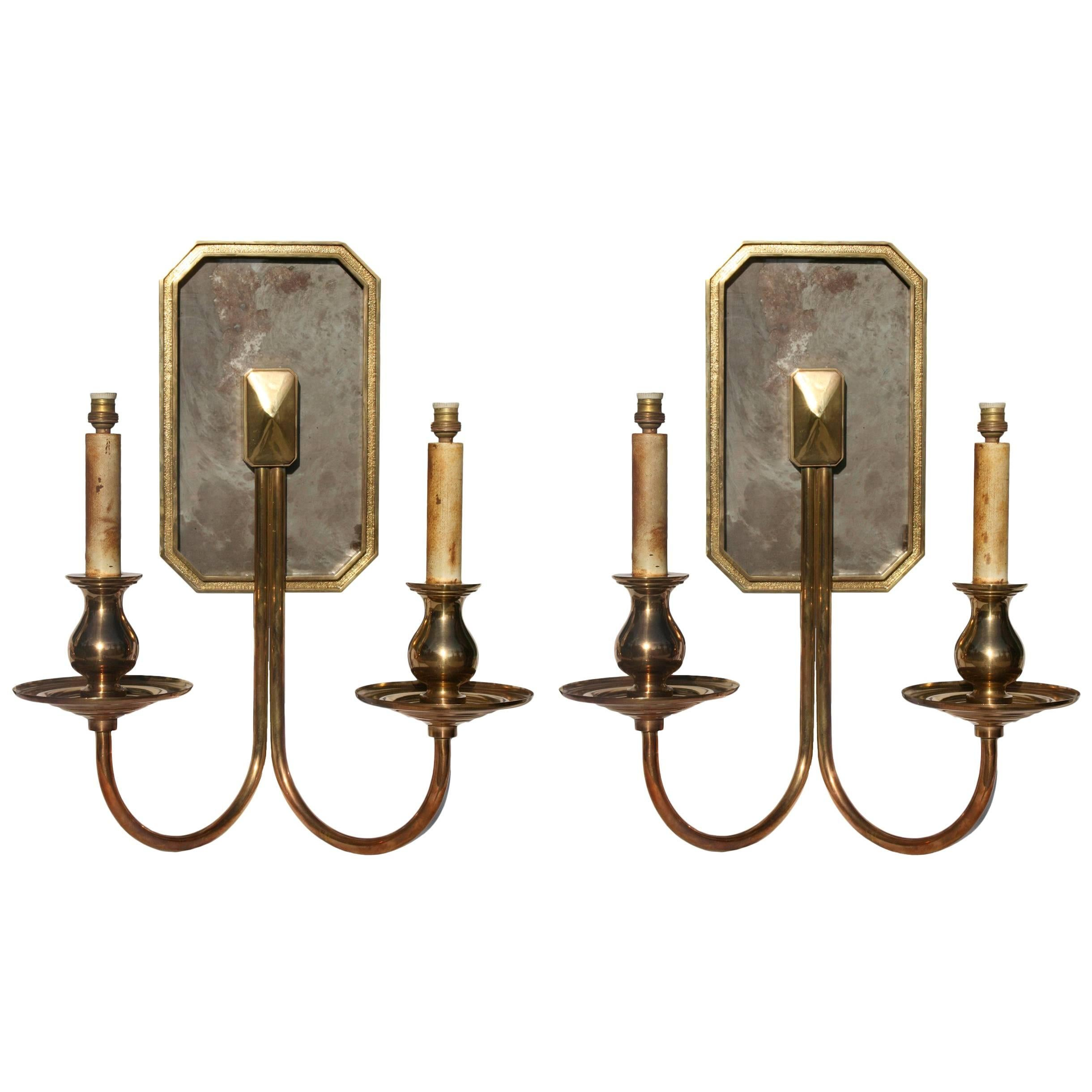 Spanish, 1970s Pair of Two-Arm Brass Bronze Wall Sconces