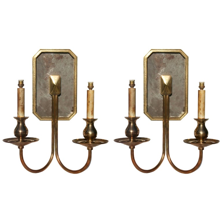 Spanish, 1970s Pair of Two-Arm Brass Bronze Wall Sconces For Sale