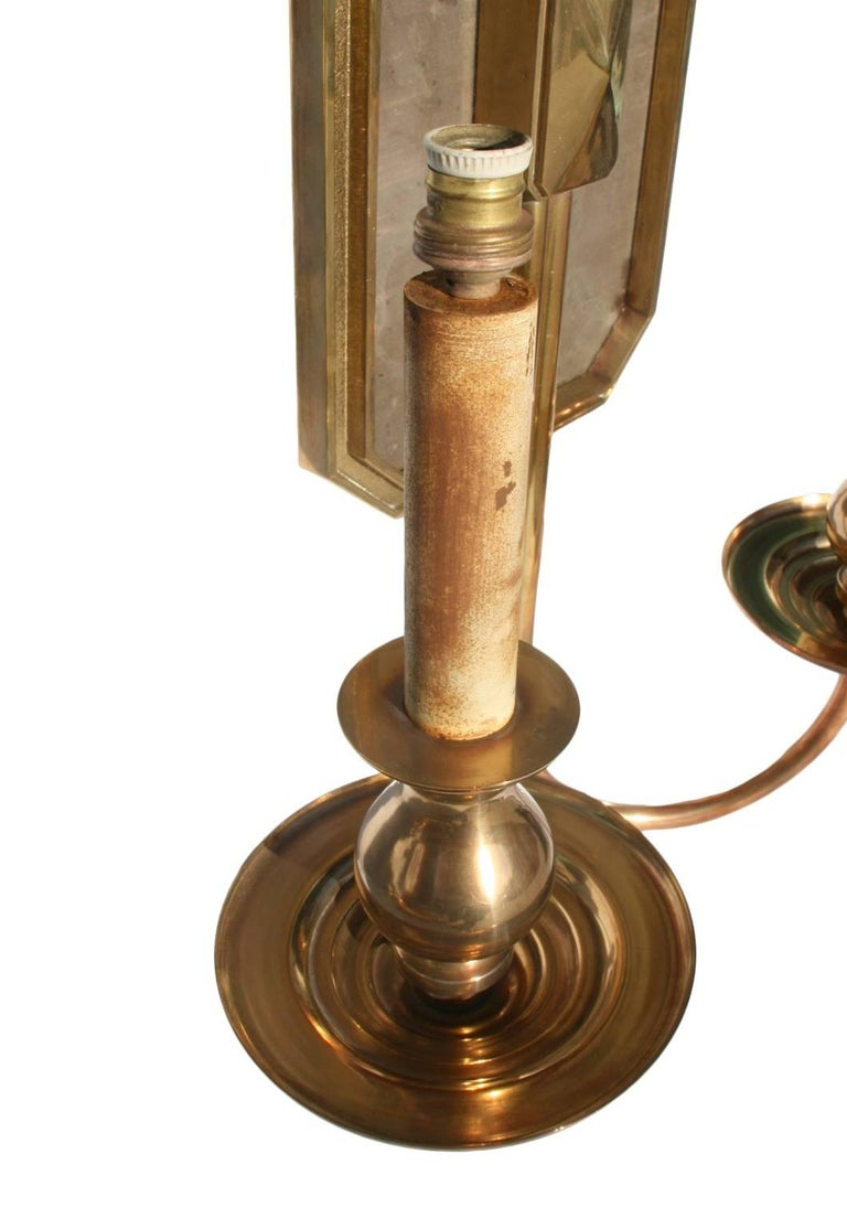 Spanish, 1970s Pair of Two-Arm Brass Bronze Wall Sconces For Sale 3