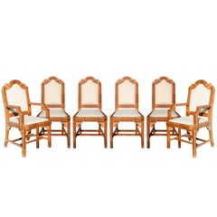 1980s Six-Piece Seating Set, Solid Wood Frames Lined with Interlaced Wicker