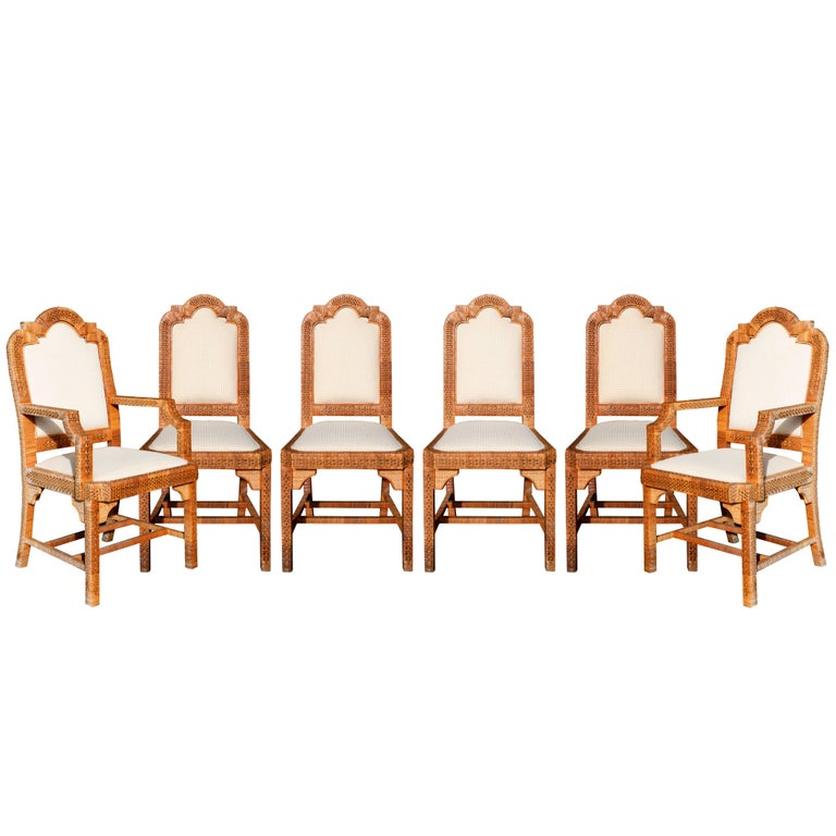 1980s Six-Piece Seating Set, Solid Wood Frames Lined with Interlaced Wicker For Sale