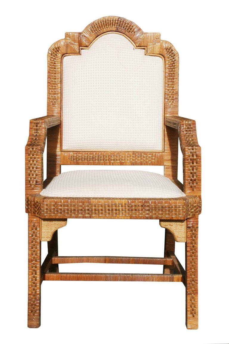 Spanish, 1980s six-piece seating set, design set composed of two armchairs and four chairs with straight lines and elegant curves. Solid wood frames lined with interlaced wicker and bamboo lattice.