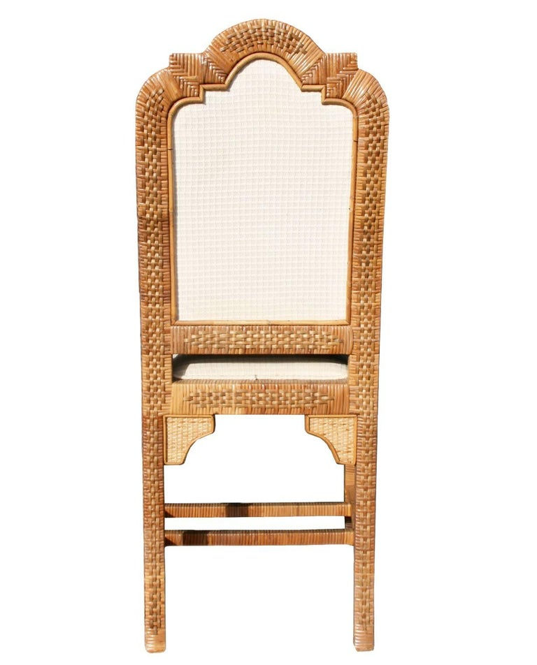 Spanish 1980s Six-Piece Seating Set, Solid Wood Frames Lined with Interlaced Wicker For Sale