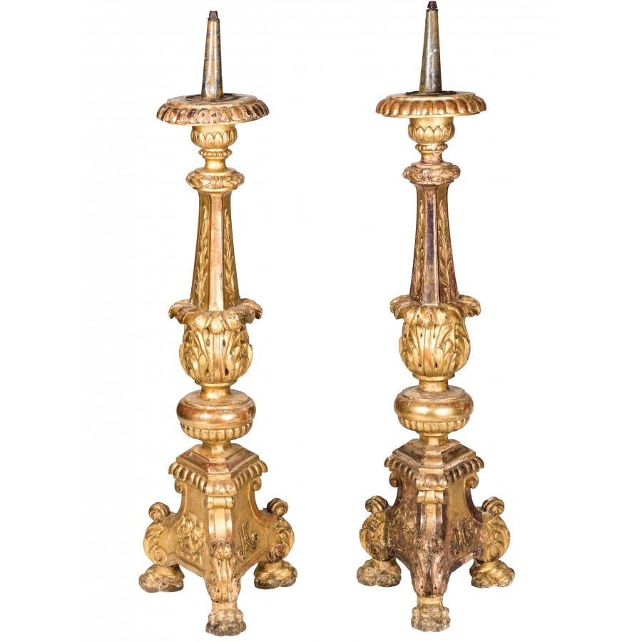 18th Century Pair of Italian Grand Scale Gold Gilded Pricket Sticks