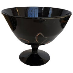 1940s Murano Opaque Black Glass with Irregular Brown Vein