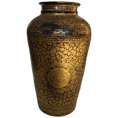 19th Century Chinese Black Lacquered Papier-Mâché Vase