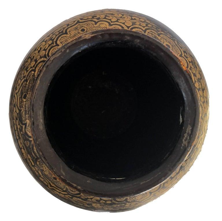 19th Century Chinese Black Lacquered Papier-Mâché Vase For Sale 3