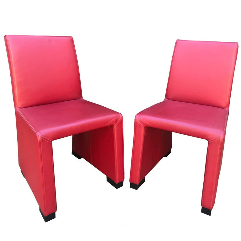 1980s Wittmann's Austrian Red Leather Chairs For Sale