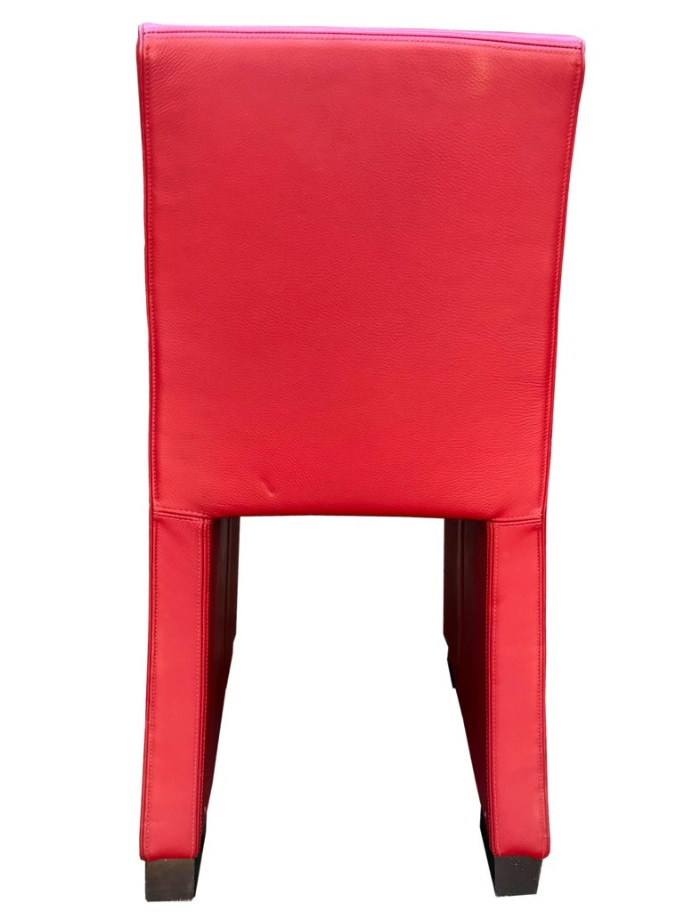 1980s Wittmann's Austrian Red Leather Chairs In Good Condition For Sale In Malaga, ES