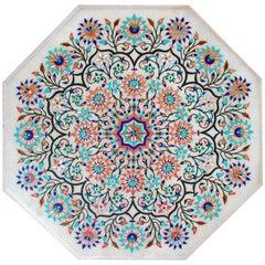 Octogonal Italian Pietre Dure Semiprecious Hardstone Inlay White Marble Tabletop
