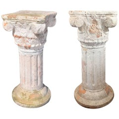 Pair of Corinthian Plinths in French Terracotta