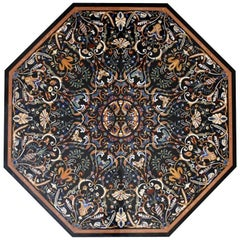 Octagonal Italian Pietre Dure Semiprecious Hardstone Inlay Black Marble Tabletop