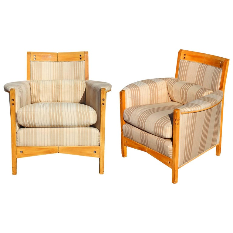 Pair of 20th Century Girogetti Armchairs by Umberto Asnago For Sale